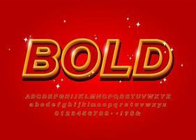 Overzicht vet alfabet lettertype op rode achtergrond