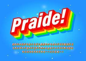 Zes kleuren regenboog lettertype bedoeld om diversiteit te vieren. vector