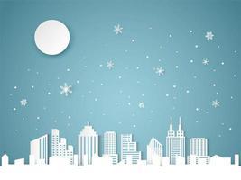 Kerstmis en gelukkig Nieuwjaar blauwe achtergrond met stadsgezicht en sneeuwvlok vector