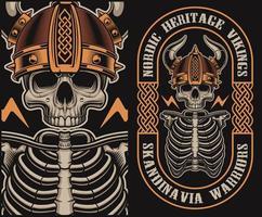 Vector illustratie met een schedel van Viking