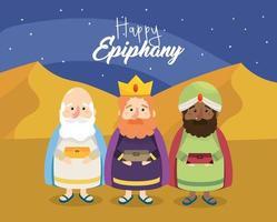 gaspar met melchior en balthazar tot gelukkige epiphany vector
