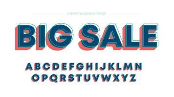 Abstracte vetgedrukte rood blauwe hoofdletters typografie
