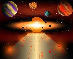 Technologie is de weg naar het universum en de toekomst vector
