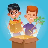 Kinderen met donaties aan goede doelen