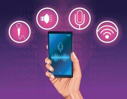 Spreker voor spraakherkenning van smartphone vector