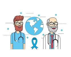 wereldwijde artsen met een stethoscoop voor de gezondheid van mensen vector
