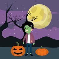 Halloween en jongen vector