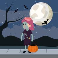 Halloween zombie meisje vector
