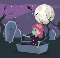 Halloween en meisje vector
