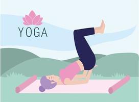 fitnass vrouw beoefenen yoga houding in de mat vector