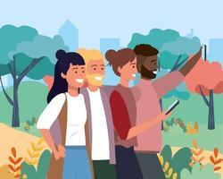 vrouwen en mannen vrienden met smartphone en kapsel vector