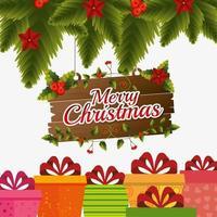 Vrolijk kerstkaartontwerp met pijnboombladeren, houten bord en geschenkdozen