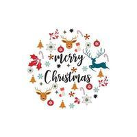 vrolijke kerstkaart met pictogrammen zoals rendieren, boom en snoepgoed