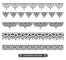 Naadloze Mandala grens Set vector
