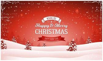 Vintage rode kerst landschap achtergrond vector