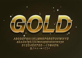 Gouden Alfabetletters met cijfers en leestekens vector