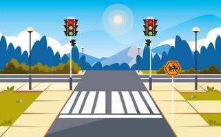 weg straatbeeld met verkeerslicht vector