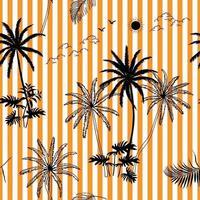 Hand getekend tropisch botanisch naadloos patroon