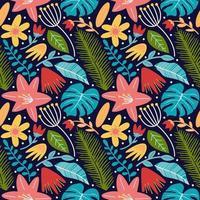 bloem bloesem bladeren en monstera naadloze patroon achtergrond vector