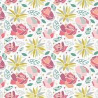bloem bloesem rose daisy naadloze patroon achtergrond