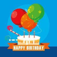 gelukkige verjaardagskaart met zoete cake en ballonnen