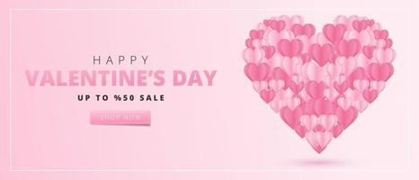 Happy Valentine's Day-kaart in papier kunststijl. vector