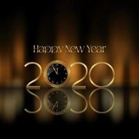 Gelukkige Nieuwjaarachtergrond met gouden brieven en klokontwerp vector