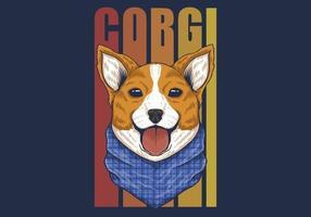 Corgi hond met bandana kleurrijk ontwerp vector