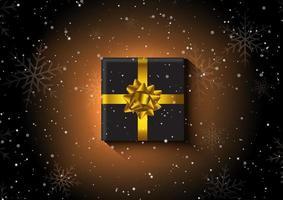Kerstmisgift op een sneeuwvlokachtergrond vector
