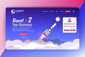 Verhoog de bestemmingspagina van de bedrijfsruimteschipwebsite met aanmelding vector