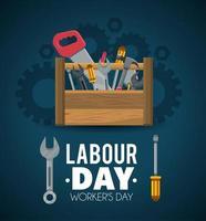 bouwgereedschap om de dag van de arbeid te vieren vector