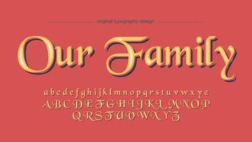 Elegante gele kalligrafie weergave lettertype