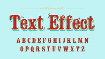 Rode Retro afgeronde teksteffect lettertype vector