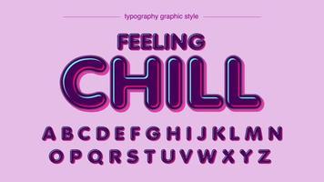 Afgeronde glanzende neon artistieke typografiestijl vector