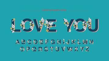 Floral weergave artistieke lettertype vector
