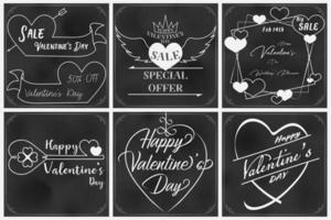 Valentine doodles op schoolbord vector