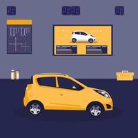 gele auto in onderhoudswerkplaats