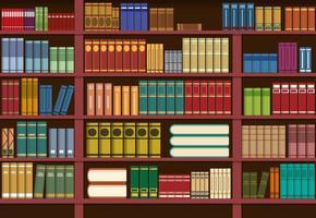 Boekenplank in bibliotheek vector