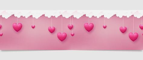 Horizontaal naadloos patroon van roze harten