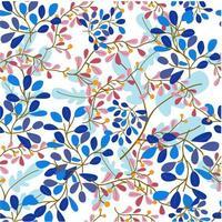 Zoete blauwe en paarse bloem en laat in naadloos patroon vector