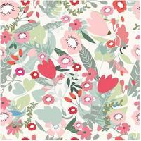rozerood en jungle bloemen naadloos patroon