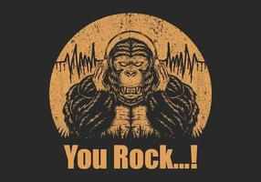 Gorilla hoofdtelefoon je rock illustratie vector