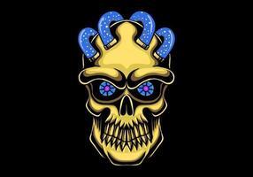 schedel hoofd gouden vector