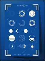 Set van blauwe en witte kleurruimte exploratie pictogrammen vector