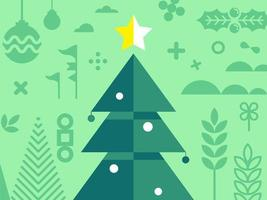 Kerstboom met ander element van Kerstmis in rode toon