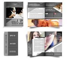 grijs gebogen brochuremalplaatje met 4 pagina's