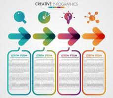 Pijlen 4 stappen tijdlijn infographics sjabloon stap voor stap