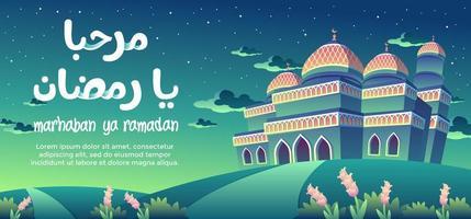 Marhaban Ya Ramadan met de oranje patroon groene moskee in de nacht