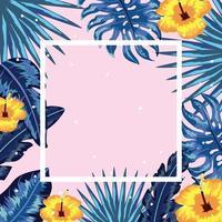 vierkant wit frame met bladeren en gele bloemen