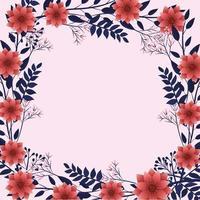 exotische bloemen met schattige bladeren frame op roze achtergrond